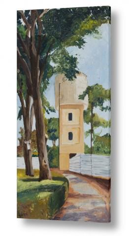 אסתר טל אסתר טל - ציורי שמן ריאליסטיים - מים | מגדל מים בקיבוץ