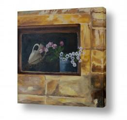 אסתר טל אסתר טל - ציורי שמן ריאליסטיים - קיר | פרחים בחלון