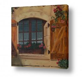 אסתר טל אסתר טל - ציורי שמן ריאליסטיים - וילון תחרה | גרניום בחלון