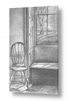 ציורים רישום | חלון עם נוף