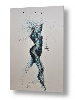 ציורים חני שפר | אישה בתנועה