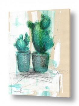 ציורים חני שפר | שני קקטוסים