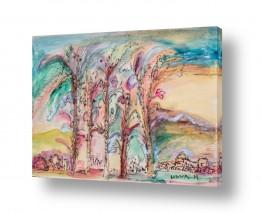 ציורים חוה מזרחי | עצים בנוף מדבר