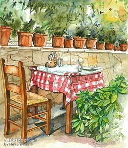 שולחן ועציצי בזיליקום