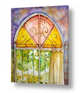 ציורים ציור | חלון ירושלמי צבעוני