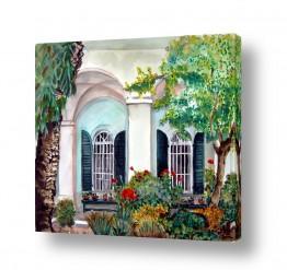 ציורים ציור | גינה בכנסייה