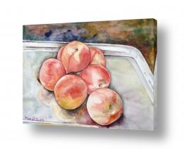 ציורים ציור בצבעי מים | אפרסקים