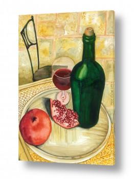 טבע דומם סלסלת פירות | רימונים וכוס יין