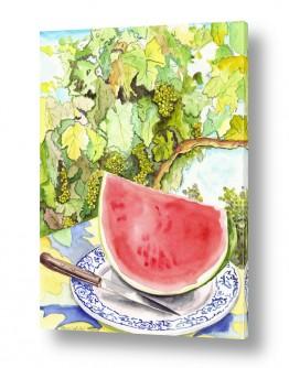 טבע דומם סלסלת פירות | אבטיח על צלחת