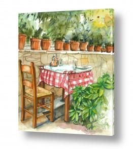 אוכל תבלינים | שולחן ועציצי בזיליקום