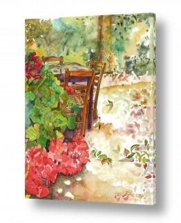 ציורים ציור בצבעי מים | חצר גינה