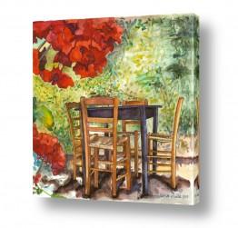 ציורים חיה וייט | שולחן עם פרח אדום