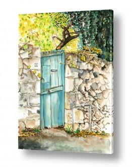טבע דומם דלתות | דלת עץ כחולה