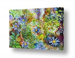 אבסטרקט מופשט אבסטרקט פרחוני ובוטני | פרחי גינה כחולים