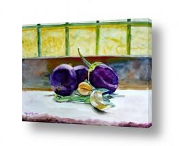 ציורים טבע דומם | חצילים על אדן חלון