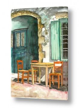 טבע דומם דלתות | כסאות כתומים
