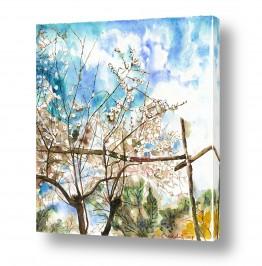 ציורים ציור | שקדייה על מקלות