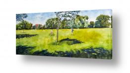 ציורים ציור בצבעי מים | עצים וצללים