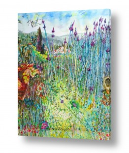 ציורים ציור בצבעי מים | פרחי לוונדר