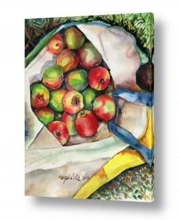 ציורים טבע דומם | תפוחים בשק