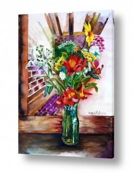 ציורים טבע דומם | צנצנת פרחים
