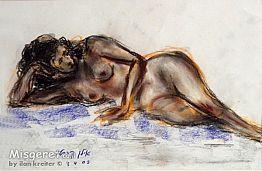 אישה בעירום בצבעים חומ