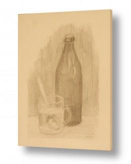 טבע דומם קנקן | בקבוק וכוס