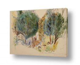 ציורים עוד קרייטר | עצים בקיבוץ מנרה