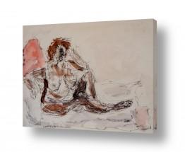 ציורים רישום | אישה בעירום דיו וצבעי מים