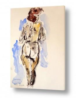 ציורים רישום | דמות אישה בצבעי מים