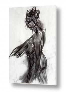 ציורים רישום | אישה בעירום רישום פחם 1