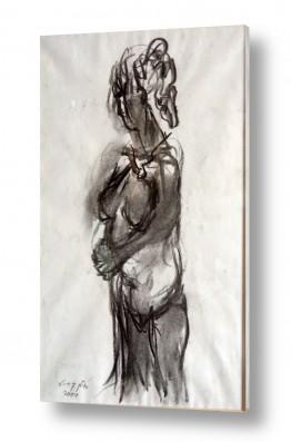 ציורים רישום | אישה בעירום רישום פחם 2