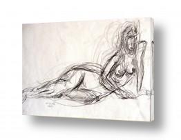ציורים רישום | אישה בעירום רישום בעיפרון