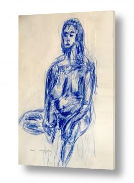 ציורים רישום | אישה בעירום- בעפרון כחול