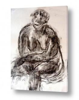 ציורים רישום | עירום עגלגל- רישום פחם
