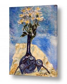 תמונות לפי נושאים מפה | אגרטל כחול עם פרחים