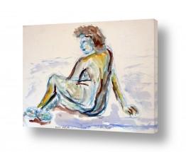 ציורים רישום | דמות אישה באקוורל