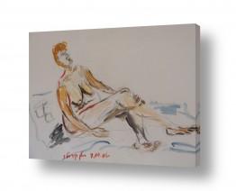ציורים רישום | אישה בעירום- צבעי מים
