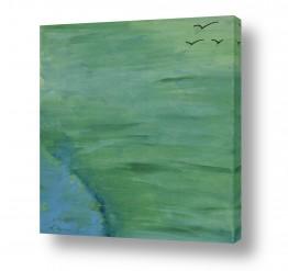 ציורים ציורים אנרגטיים | ציפורים ברקיע ירוק