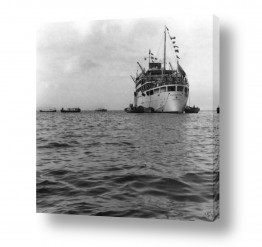 צילומים ארץ ישראל הישנה | תל אביב 1939 אוניה וסירות