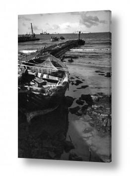 כלי שייט אוניה   תל אביב 1937 המזח בבניה
