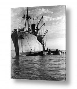 צילומים ארץ ישראל הישנה | תל אביב 1937 אוניה בנמל