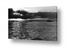 כלי שייט אוניה   תל אביב 1937 שקיעה בנמל