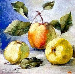 תפוחים על השולחן