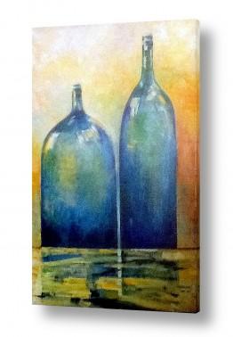 טבע דומם קנקן ובקבוקים | בקבוקים כחולים