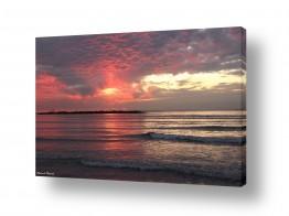 נוף חופים | שקיעה אדומה