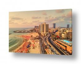 נוף שקיעה | טיילת בתל אביב בשעת שקיעה