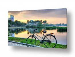 נוף מיים | אופניים בשקיעה