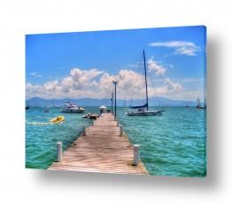 צילומים עיבודים | רציף, סירות וים