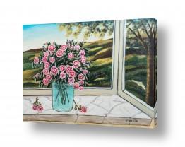 ציורים עירוני וכפרי | אגרטל פרחים